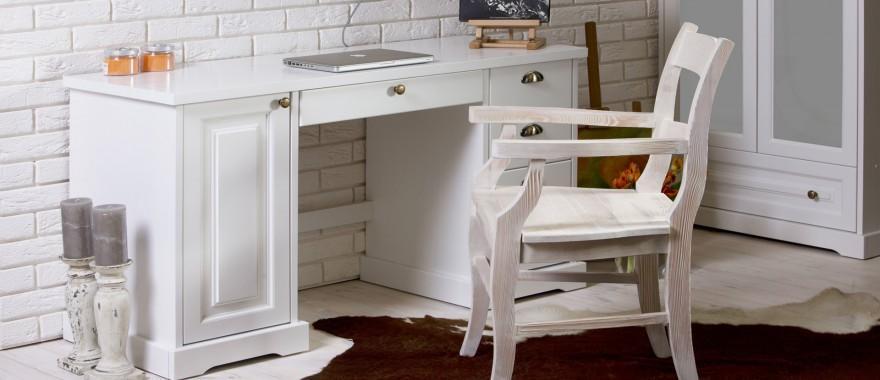 Bílý dřevěny psací stůl Parma